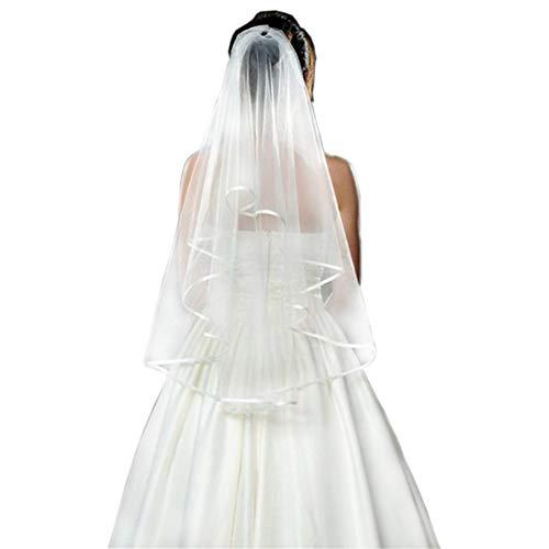 Nurinss – Vela para novia, tul, boda, velo corto, borde de satén con peine, para boda, despedida de soltera Blanco Talla única