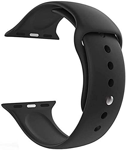 LineOn Soft Silicone Sport Strap Band for iWatch 42mm 44mm Apple Watch Series 1 2 3 4 5 Black