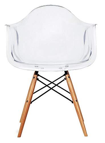 2xhome - Clear Plastic Armchair Natural Wood Legs Eiffel Dining Room Chair - Lounge Chair Arm Chair Arms Chairs Seats Wooden Wood Leg Dowel Leg Legged Base