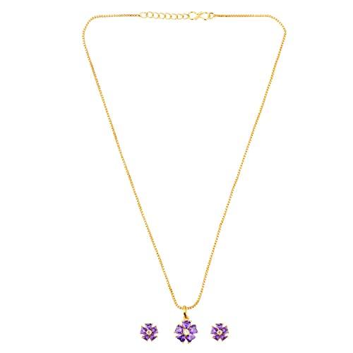Efulgenz Collar de cadena con colgante floral de circonita cúbica y circonita cúbica, conjunto de joyas para mujeres y niñas, Metal Cobre, desconocido,