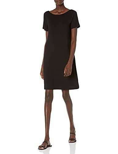Daily Ritual Women's Jersey Standard-Fit Ballet-Back T-Shirt Dress, Black, Small