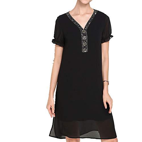 N\P Vestido de gasa para mujer de verano grande con cuello en V y longitud media