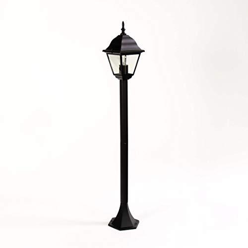 Lampadaire d'extérieur - Lanterne noire - Résistante aux intempéries - Culot E27 - Hauteur : 105 cm - Pour jardin, allée, cour.