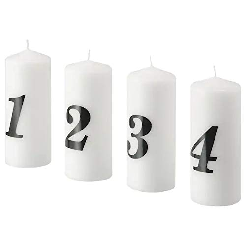 Vinter IKEA 2020 Kerzenset Adventskranz Blockkerze duftneutral 15 cm 4er Set