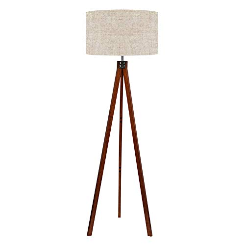 LEPOWER Wood Tripod Floor Lamp, Mid Century Standing Lamp, Modern Design Studying Light for Living Room, Bedroom, Study Room and Office, Flaxen Lamp...