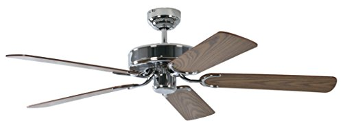 Deckenventilator ohne Beleuchtung Potkuri, Gehäuse Stahl, Wendeflügel Eiche oder Eiche mit Rattaneinlage , 132 cm, für Räume bis zu 25m²