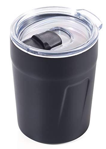 TROIKA Original ESPRESSO DOPPIO – CUP65/BK – Thermobecher (Espresso, Kaffee, Tee) – Isolierbecher, Travel Mug – Fassungsvermögen: 160 ml (5,4 oz) – Kunststoffdeckel (Verschlussschieber, schwappsicher)