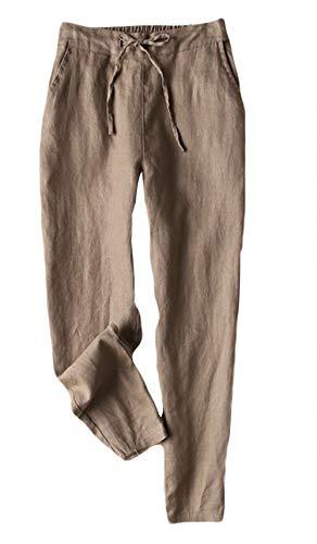 Insun Donna Pantaloni di Lino con Elastico in Vita Pantaloni di Harem Marrone L