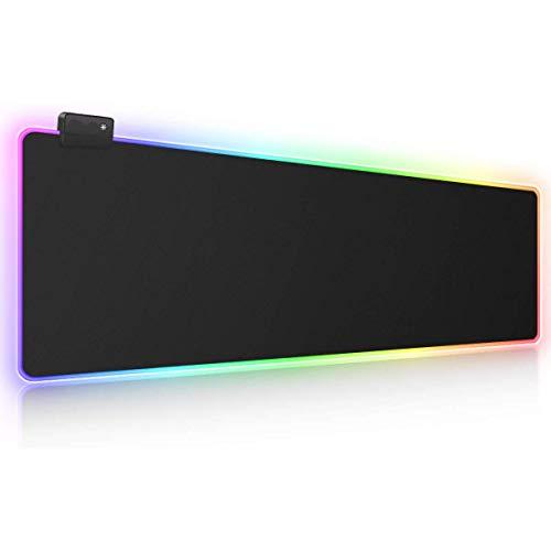 SovelyBoFan RGB Alfombrilla de RatóN para Juegos Alfombrilla de RatóN Grande y Suave con 14 Modos de IluminacióN y 2 Niveles de Brillo Teclado de Computadora Alfombrilla de RatóN
