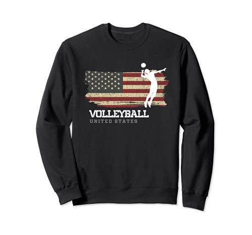 Voleibol Estados Unidos Bandera Chicas Voleibol Mujeres Sudadera