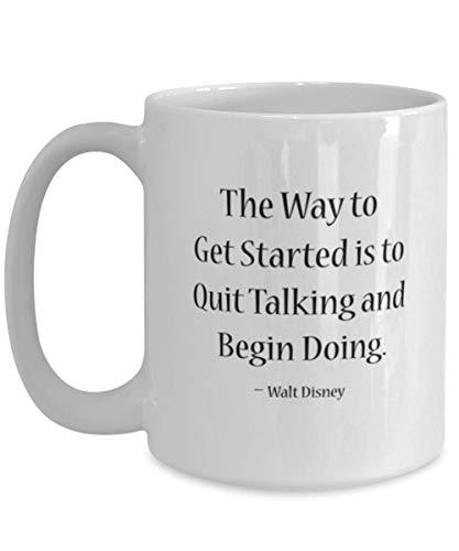 N\A Taza con Cita inspiradora de Walt Disney, Taza para emprendedores, Taza de café de cerámica para Personas Que Nunca se rinden para motivar a Amigos, colegas, Adultos, Adolescentes (11 oz)