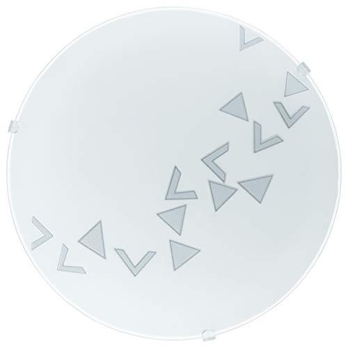 EGLO Deckenlampe Mars, 1 flammige Wandleuchte, Deckenleuchte aus Stahl, Farbe: Weiß, Glas: Weiß satiniert Motiv Dreiecke, Fassung: E27