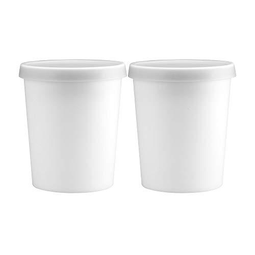 Gourmet Art 2-Piece 1 Quart BPA Free Ice Cream Tub/Freezer Storage/Containers with White Silicone...