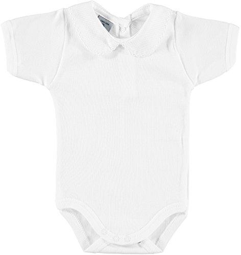 BABIDU 1181 Body m/c Cuello Bebe Pique Ropa de Bautizo, Blanco (Blanco 1), 56 (Tamaño del Fabricante:1) Unisex bebé