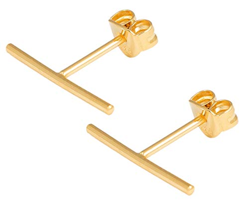 Charlotte Wooning Damen Ohrstecker Straight Gold glänzender schmaler Stab Silber Vergoldet ESTg