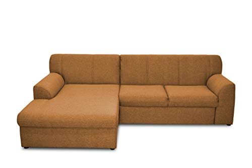 DOMO. collection Topper Ecksofa, Sofa, Couch in L-Form, kleine Polsterecke, Eckcouch, Polstergarnitur, Gold, 245 x 155