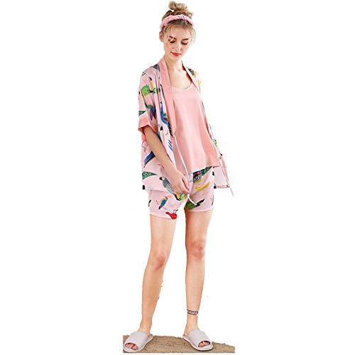 De Estilo japonés Kimono del camisón Pijama de Las Mujeres de Tres Piezas Traje Atractivo de Tirantes Pantalones Cortos Inicio Servicio de seda-SY7272 (Color : Pink, Size : M)