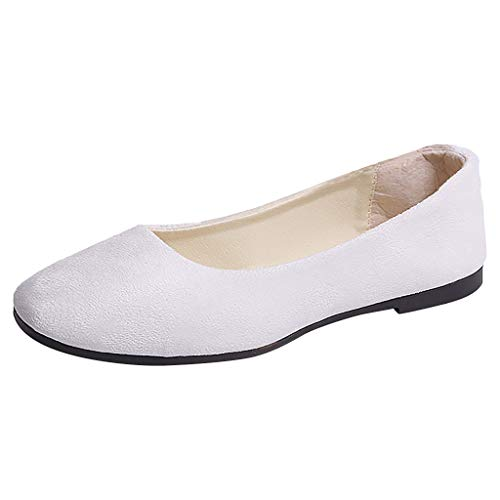 Ywoow Women Girls Solid Big Size Slip On Flat Shallow Comfort Casual Single Shoes