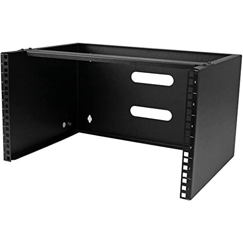 StarTech.com 6U Wall Mount Network Equipment Rack - 14 Inch Deep - 19' Patch Panel Bracket for Shallow Server Equipment- 44lbs Capacity (WALLMOUNT6), Black