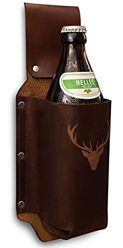 Bier-Holster Bier-Gürtel Flaschenhalter aus echtem Leder als Geschenk für Männer, Bierhalter als Geschenkideen für Kumpel/Freund/Grillparty/Männergeschenk