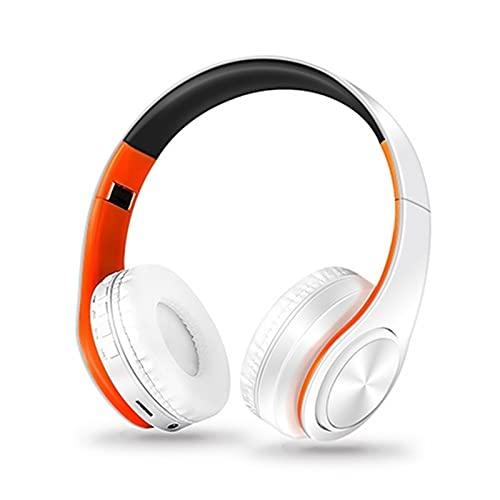 DingHome HiFi Auriculares estéreo Auriculares Auriculares Auriculares FM y Soporte Tarjeta SD con Mic para Tableta Móvil para Xiaomi iPhone Sumsamg (Color : Orange White)