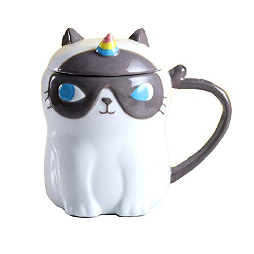 Keramik-Katzen-Kaffeetasse, Lustiges 3D Caticorn Teetassen, Einzigartig Katzen-Einhorn Geschenkidee für Katzenliebhaber Einhornparty Hitzebeständig Cartoon Kätzchen Für Kinder Bürogeschenke 380ML