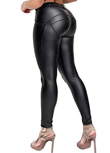 STARBILD Pantalones PU Leggings Cuero Skinny Sexy Elástico para Mujer B-Negro S