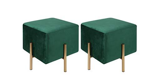 Kirpi - Juego de 2 taburetes otomanos cuadrados de terciopelo – Taburete moderno – Reposapiés tapizado de terciopelo suave con patas de metal dorado verde oscuro