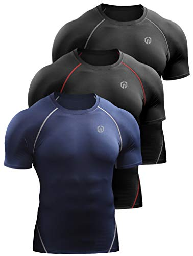 Neleus Men s 3 Pack Compression Baselayer Athletic Workout T Shirts 5022 Black(Grey) Black(red) nvay US L EU XL