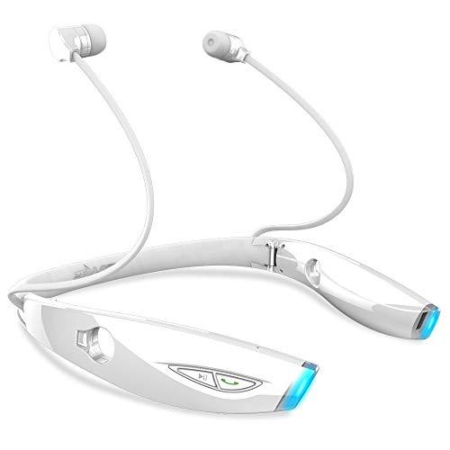Audífonos Inalámbricos Auriculares inalámbricos de Auriculares Bluetooth inalámbricos funcionando Auriculares a Prueba de Bluetooth con micrófono para teléfonos (Color : White)