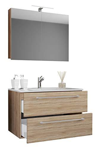 VCM 3-TLG. Waschplatz Badmöbel Badezimmer Set Waschtisch Waschbecken Schubladen Keramik Badinos Spiegelschrank Breite 80 cm: Sonoma-Eiche