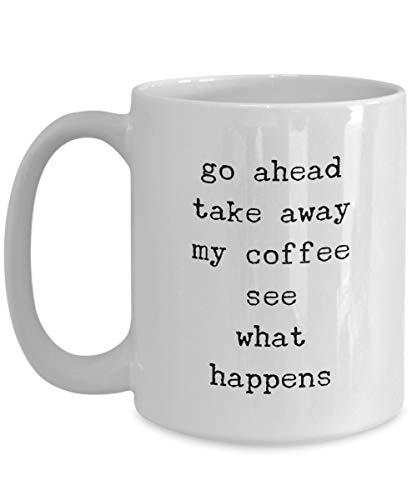 N\A Taza de café Simple - Adelante Take Away My Coffee - Taza de Viaje de cerámica Blanca