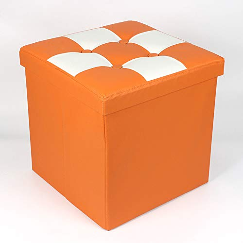 YLLHK Taburete Plegable de Almacenamiento Cuero PU, Taburete Zapatero Plegable, Fácil de Instalar, Carga de 100kg, Elegir, 38 * 38 * 38 CM,Naranja