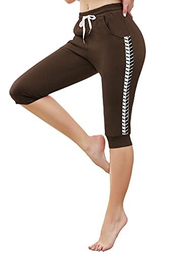 Doaraha 3/4 Pantalones Deporte Piratas para Mujer Casual Pantalón Capri Deportivos con Cordón para Running,Yoga,Fitness,Danza