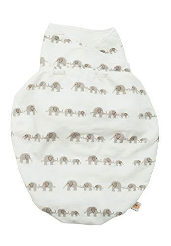 Ergobaby Pucksack Baby 0-3 Monate Baumwolle, Elephant Puck BabysSchlafsack Ganzjahres Pucktuch Swaddler