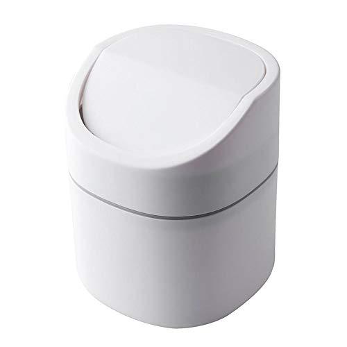 Yuxahiugljt Basura Mini pequeño Cubo de la Basura de Escritorio Suministros de Oficina Cesta de plástico Inicio Tabla Bote de Basura Cubo de Basura de Las misceláneas Caja Barril (Color : White)