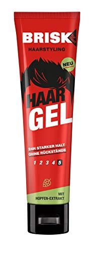 BRISK Gel para el cabello, 6 unidades de 150 ml, con extracto de lúpulo y cuidado del cabello con 24 horas de fuerte sujeción, cuida y fija sin pegar, productos para el cuidado del hombre