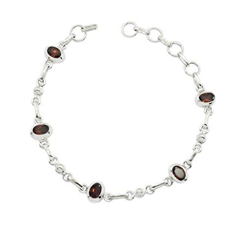 teasing Garnet 925 Sterling Silver Red Bracelet jaipur L-7.5 gift