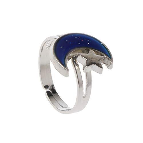 Tsorryen Anéis femininos com formato de estrela da lua que muda de humor e emoção, sensação de temperatura, anéis femininos