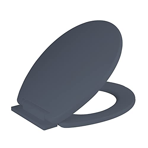 Ram Grey Soft Close Toilet Seat with Adjustable Hinges LOO Toilet Seat Quick Release Easy Clean Bathroom Toilet Seat Grey