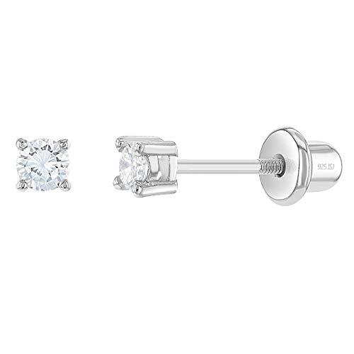 In Season Jewelry - Baby Mädchen Kinder - Schraubverschluss Ohrringe Klar 925 Sterling Silber CZ Zirkonia 2mm