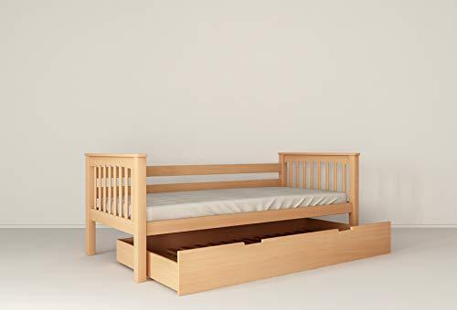 Functioneel kinderbed jeugdbed juniorbed bed 90 x 200 incl. lattenbodem, massief beukenhout (natuur, met extra bed)