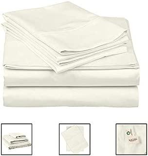 Organic Cotton Sheet Set - Bed Sheets King Size Full Set - Natural King Size Bed Sheets Cotton - Organic Cotton Bedding Sets King - 4 Pcs (Flat Sheet, Fitted Sheet, 2 Pillowcases) - King, Natural
