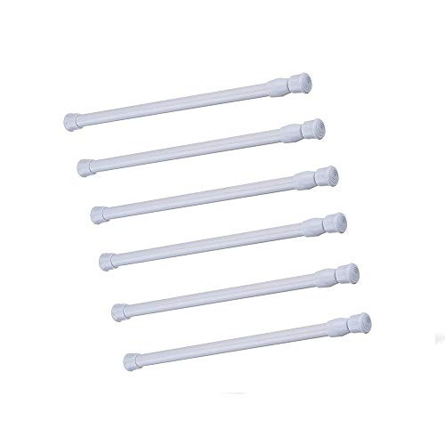 Cupboard Bars Tension Rods, 6 Pack Spring tensions rods Steel Adjustable Tension Curtain Rod shower Rod Closet Rod Window Rods ( 11.8-20 Inches )