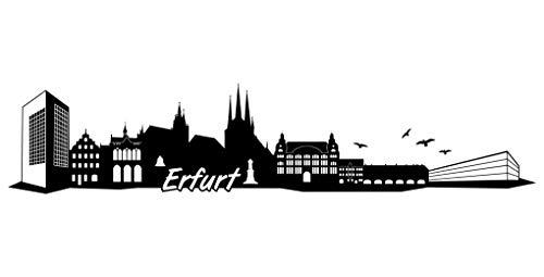 Samunshi® Erfurt Skyline Aufkleber Sticker Autoaufkleber City Gedruckt in 7 Größen (40x8,3cm schwarz)