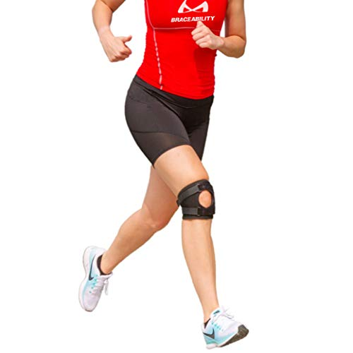 BraceAbility Short Patellar Tracking Knee Brace - Pull-On Running, Exercise, Athletic Support Stabilizer for Post Kneecap Dislocation, Tendonitis, Patellofemoral Pain and MCL/LCL Injuries (Small)