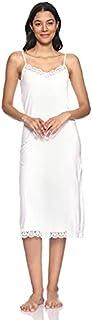 قميص نوم قطن سادة بحمالة رفيعة واطراف دانتيل للنساء من دهب
