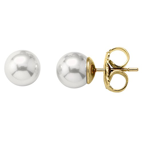 Stud earrings on sterling silver gold-plated, 8mm round white pearls