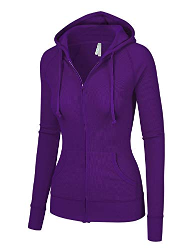 OLLIE ARNES Women's Thermal Long Hoodie Zip Up Jacket Sweater Tops Thermal_Purple M