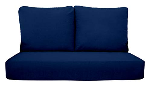 """RSH Décor Indoor Outdoor Deep Seating Loveseat Cushion Set, 1- 46"""" x 26"""" x 5"""" Seat and 2- 25"""" x 21"""" Backs, Choose Color (Royal Blue)"""